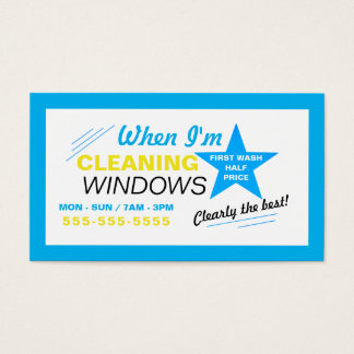 Bright Blue & White Window Cleaner Business Card