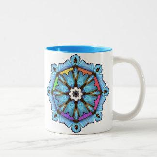 Bright Blue Wings Rainbow Mandala Mug