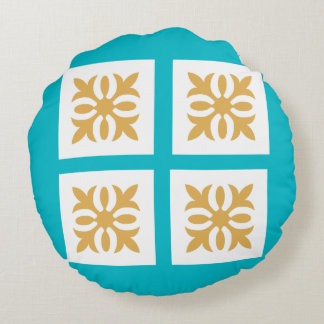Bright Blue with Gold Ornament Design Round Pillow