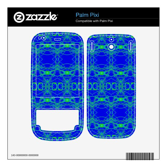 Bright Blue with lacey green pattern Palm Pixi Decal