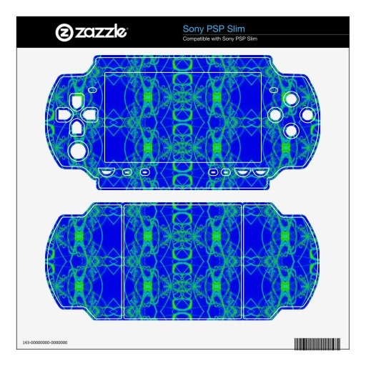 Bright Blue with lacey green pattern PSP Slim Decal
