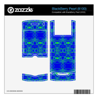 Bright Blue with lacey green pattern Decals For BlackBerry