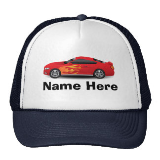 Bright Blue with Red Sports Car Flames Boys Trucker Hat