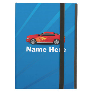 Bright Blue with Red Sports Car Flames Kids Boys Case For iPad Air