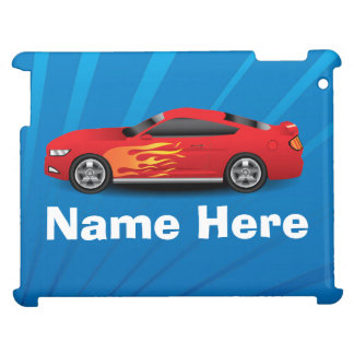 Bright Blue with Red Sports Car Flames Kids Boys Case For The iPad 2 3 4