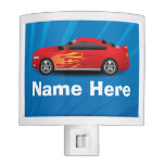 Bright Blue with Red Sports Car Flames Kids Boys Nite Lights