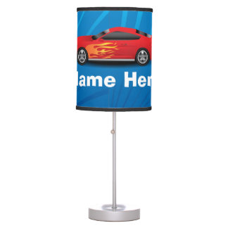 Bright Blue with Red Sports Car Flames Kids Boys Desk Lamp