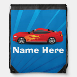 Bright Blue with Red Sports Car Flames Kids Boys Drawstring Backpack