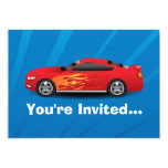 Bright Blue with Red Sports Car Flames Kids Boys Personalized Announcements