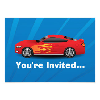 Bright Blue with Red Sports Car Flames Kids Boys 5x7 Paper Invitation Card