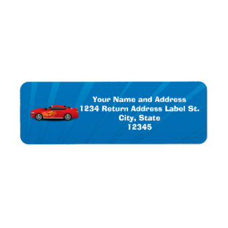 Bright Blue with Red Sports Car Flames Kids Boys Return Address Label