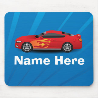 Bright Blue with Red Sports Car Flames Kids Boys Mousepads