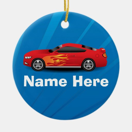 Bright Blue with Red Sports Car Flames Kids Boys Christmas Ornament