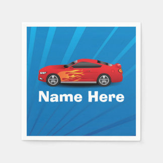 Bright Blue with Red Sports Car Flames Kids Boys Paper Napkin