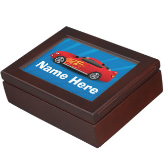 Bright Blue with Red Sports Car Flames Kids Boys Memory Box