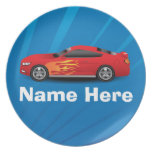 Bright Blue with Red Sports Car Flames Kids Boys Plate
