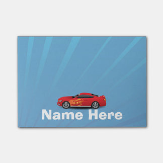 Bright Blue with Red Sports Car Flames Kids Boys Post-it® Notes