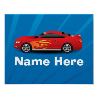 Bright Blue with Red Sports Car Flames Kids Boys Poster