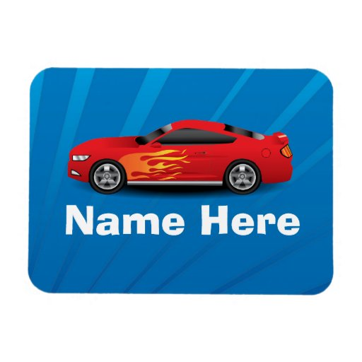 Bright Blue with Red Sports Car Flames Kids Boys Magnets