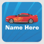 Bright Blue with Red Sports Car Flames Kids Boys Square Sticker