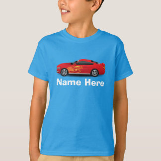 Bright Blue with Red Sports Car Flames Kids Boys T-Shirt