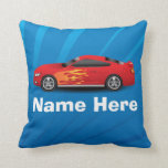 Bright Blue with Red Sports Car Flames Kids Boys Throw Pillow