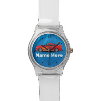 Bright Blue with Red Sports Car Flames Kids Boys Wristwatches