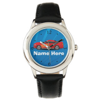 Bright Blue with Red Sports Car Flames Kids Boys Wrist Watch