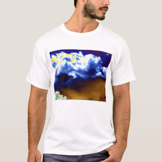 Bright Blue Yellow and Gold Chaotic Clouds and Glo T-Shirt