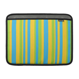 Bright Blue, Yellow, Green Stripes MacBook Sleeve