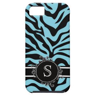 Bright Blue ZEBRA pattern Swirl Monogram iPhone 5 Case