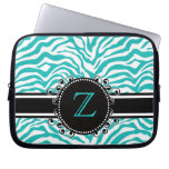 Bright Blue Zebra Print with Ribbon & Monogram Laptop Computer Sleeves
