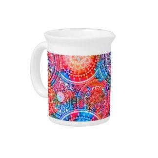 Bright Bohemian Boho Hippy Chic Pattern Drink Pitcher