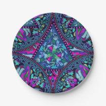 Bright Bohemian Boho Hippy Chic Pattern Paper Plate