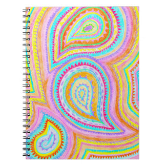 Bright Bohemian Paisley Retro Pattern Spiral Note Book