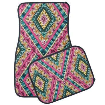 Aztec Themed Bright Boho Colorful abstract tribal pattern Car Mat