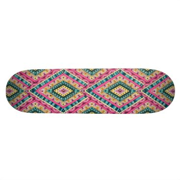 Aztec Themed Bright Boho Colorful abstract tribal pattern Skateboard Deck
