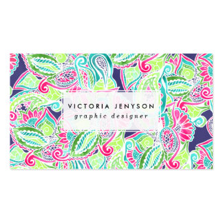 Bright Boho paisley pink blue green watercolor Double-Sided Standard Business Cards (Pack Of 100)