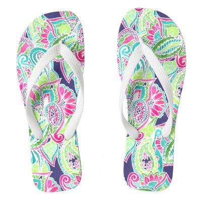 9dfc257906593 Beautiful Colorful Boho Retro Owl Flip Flops