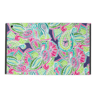 Bright Boho paisley pink blue green watercolor iPad Folio Case