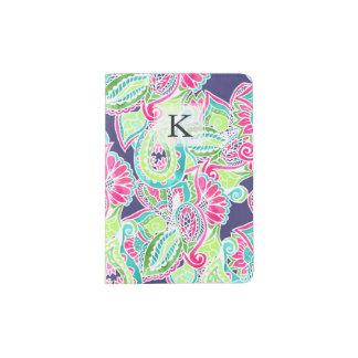 Bright Boho paisley pink blue green watercolor Passport Holder