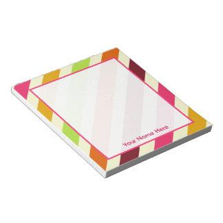 Bright Boho Stripes Personalized Notepad