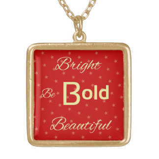 Bright Bold Beautiful inspire red gold Square Pendant Necklace