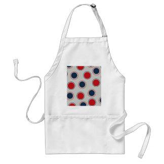 Bright Bold Big Red Blue Polka Dots Pattern Adult Apron