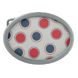 Bright Bold Big Red Blue Polka Dots Pattern Oval Belt Buckle