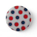 Bright Bold Big Red Blue Polka Dots Pattern Buttons