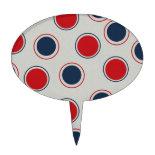 Bright Bold Big Red Blue Polka Dots Pattern Cake Pick