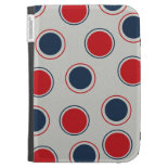 Bright Bold Big Red Blue Polka Dots Pattern Kindle Folio Cases
