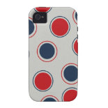 Bright Bold Big Red Blue Polka Dots Pattern iPhone 4/4S Case