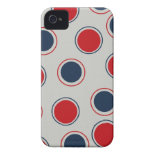 Bright Bold Big Red Blue Polka Dots Pattern Case-Mate iPhone 4 Cases